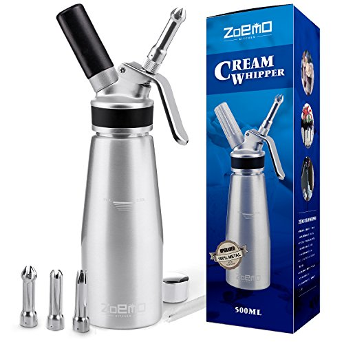 ZOEMO Profesional Whipped Cream Dispenser - Ugraded Full Metal Cream Whipper Canister, w/Durable Metal Body & Head with 3 Stainless Steel Decorating Tips (Professional Silver 500 ML)