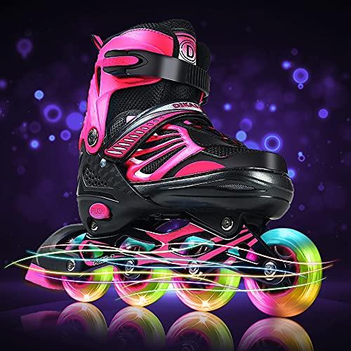 Inline Roller Skates Blades for Girls Kids Teens Light Up Wheels, Size Adjustable Outdoor Roller Skates