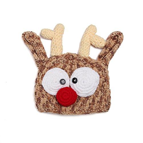FENICAL Baby Mütze Weihnachten Handgefertigte Baby Mütze gestrickt häkeln stricken Rentier Hut Geweih Fotografie Prop für Baby Dusche Halloween Weihnachten