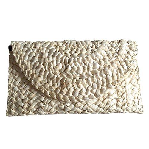 SODIAL Bolso trenzado femenino elegante de la playa del cerrojo del sobre del bolso del bolso de la paja de las mujeres para las senoras