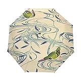 Arte De Pájaro Verde Paraguas Plegable Hombre Automático Abrir y Cerrar Antiviento Protección UV Ligero Compacto Paraguas para Viajes Playa Mujeres Niños Niñas
