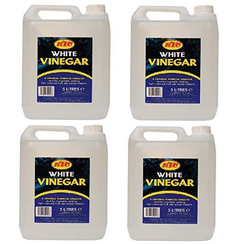 KTC Vinagre blanco de 5 litros, perfecto para decapar, limpiar, hornear, marinados, salsas y quesos, botella de 5 litros, producida en el Reino Unido (4 unidades)