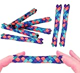 Zugar Land Cool Colorful Classic Bamboo Chinese Finger Traps (5') for Kids and Adults. (Dark - Multi Color (12 Pack))
