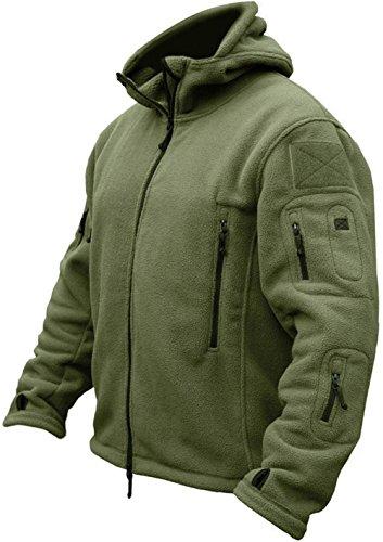 TACVASEN Herren Fleecejacke Military Outdoor Winddichte Jacke mit Kapuze- Gr. M, Grün