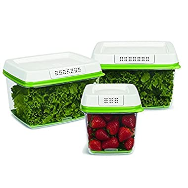 Rubbermaid FreshWorks Produce Saver 3-piece Set 2 x Large (17.3 cups / 4.0L), 1 x Medium (6.3 cups / 1.5L)