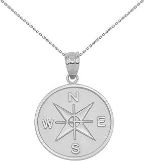 14k White Gold Compass Medallion Charm Pendant Necklace