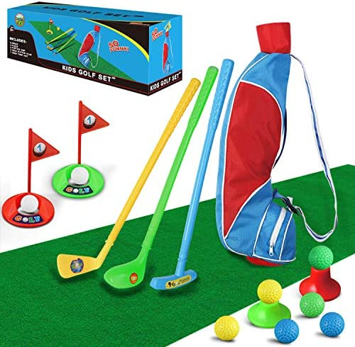 TOMYOU Kids Golf Club Set Golf Bag with Hitting Mat Toddler Golf Toy Indoor Outdoor Sports Toys product image
