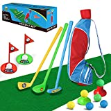 TOMYOU Kids Golf Club Set – Golf Bag with Hitting Mat, Toddler Golf Toy, Indoor & Outdoor Sports Toys, Gift for Boys, Girls 3 4 5 6 Year Old [Exquisite Packaging]