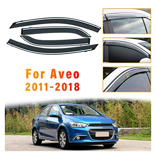 Deflectores de Viento Coche Sunny Visor Car Styling Smoking Window Sun Rain Visor Deflector Guard para Chevrolet Aveo Sedan 2011-2018 Accesorios Visera Lateral