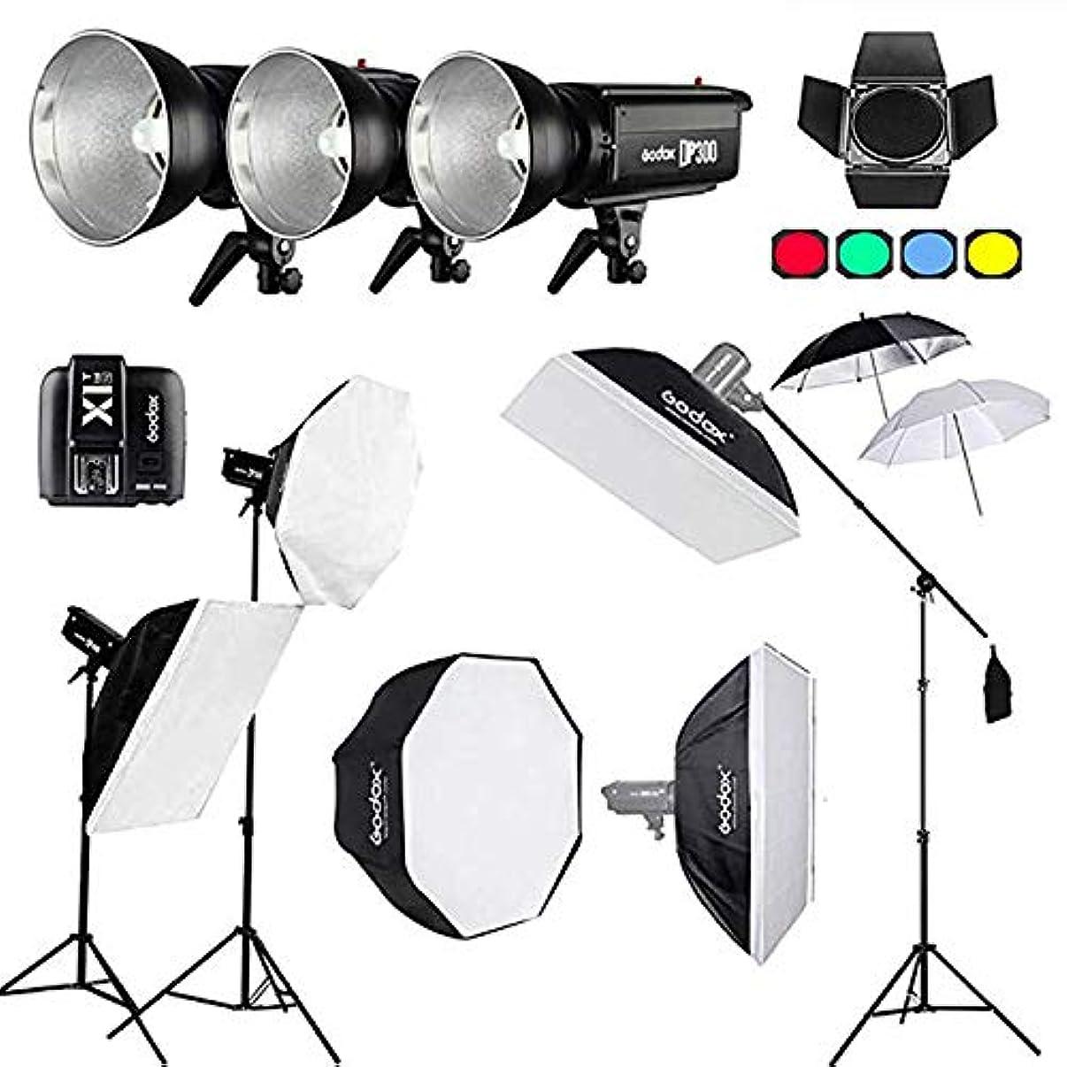 Godox 900Ws DP300II 3X 300Ws Professional Photo Studio Flash Lighting Set with Softbox,Light Stand, Flash Trigger,Studio Boom Arm Top Light Stand for Wedding Photography, Beauty Light, Night Video