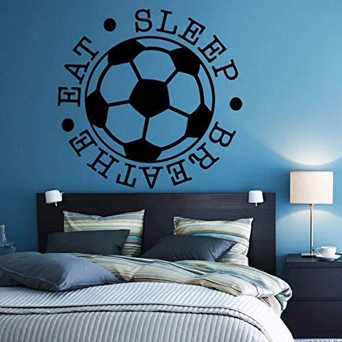 Relovsk voetbal, vinyl, zelfklevend, motivatiespel, slapen, ademhaling, aftrekplaatjes voor sport, muur, voor kinderen, slaapkamer, thee, 43 cm x 42 cm