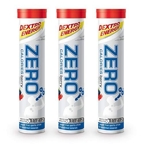 Dextro Energy Zero Calories I Recovery & Hydration Electrolyte Drink I Zero Tablets I Buy 2 Get 1 Free (2 Berry + 1 Berry FREE)