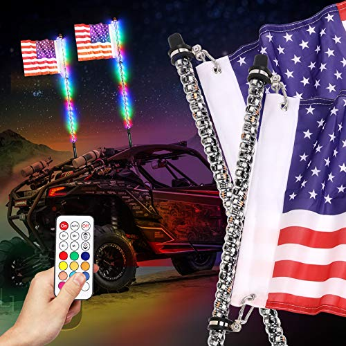 DJI 4X4 2Pcs 6ft LED Whip Lights with Flag Remote Control 360° Spiral RGB Dancing/Chasing Antenna Lighted Whips for UTV ATV RZR Polaris Off Road Truck Buggy Dune Sand Can-am Boat