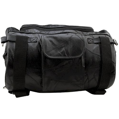 Motorcycle Bag - Barrel Style - All Genuine Black Leather - Fits Any US Bike - Extra Storage Pockets Featuring Rugged Construction - 14 3/4' × 9 3/4' × 9 3/4'