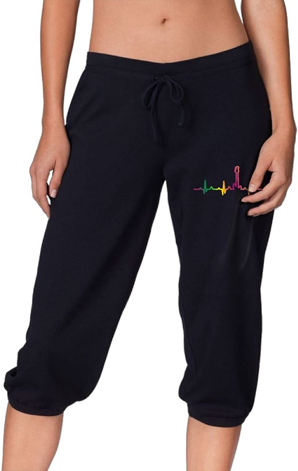 Pantsing Bass Guitar Player Hearbeat Women's Fit Active French Terry Capri Pants