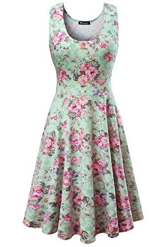 Damen Vintage Sommerkleid Traeger mit Flatterndem Rock Blumenmuster, Grün Flache, Gr. Medium / EU 36-38