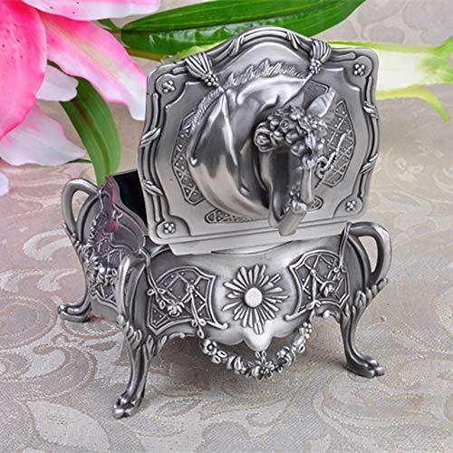 Clásico Caja Joyero para Mujer Talla de Forma Rectangular Metal Ornamento joyería joyería Plata Antigua Plata