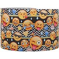 Cinta de grosgrén, decorativa, de 2 m x 22 mm, diseño de emoticonos, para tarta de cumpleaños, envoltura de regalos, tarjetas, lazo para cabello, zapatos
