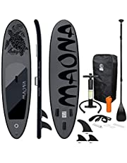 ECD Germany Opblaasbare Stand Up Paddle Board Maona   308 x 76 x 10 cm   Zwart   PVC   tot 120 kg   Pump Carrying Bag Accessoires   SUP Board Paddling Board   Verschillende modellen