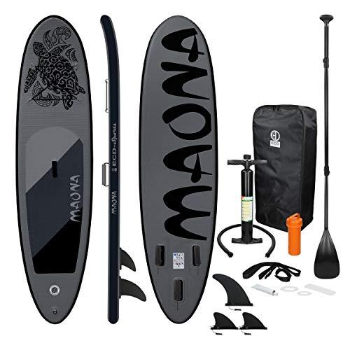 ECD Germany Tabla Hinchable Maona Paddle Surf/Sup 308 x 76 x 10 cm Negro Stand up Paddle Board PVC hasta 120kg 3 Aletas deslizantes Diferentes Modelos Incl Paleta Aluminio Bomba y Accesorios