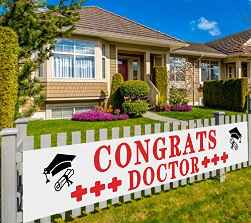 Large Congrats Doctor Banner, Doctor Graduation Decoration, Doctor Graduation Sign, Graduation Party Supplies for Doctors (9.8 x 1.6 feet)