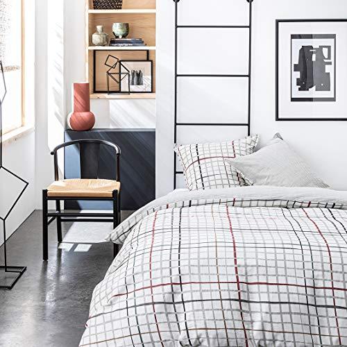 Today Bettwäsche für Doppelbett, 240 x 260 cm, Baumwolle, Bedruckt, Weiß, Graphique Sunshine 3,50 cm