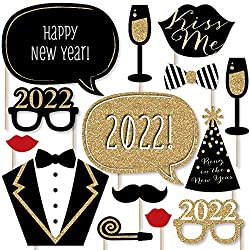 New Years Eve Party - Gold - Photo Booth Props Kit