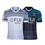 YINTE 2020 Fijian 7S World Cup Rugby Jersey, Home/Away Rugby Short Sleeve Pro Jersey, Men's Competition Cotton Jersey Graphic T-Shirt, Training Football Jersey Home-S