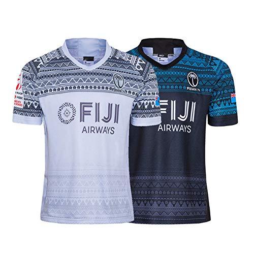 2020 Fidschian 7s WM-WM-Rugby-Jersey, Home/Away Rugby Kurzarm Pro-Jersey, Herrenwettbewerb Baumwolljersey-Grafik-T-Shirt, 100% Polyester Atmungsaktives Stoff Away-XXL