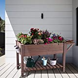Raised Garden Bed for Herbs, Patio Elevated Flower Planter Vegetable Boxes with Grow Grid - with Large Storage Shelf