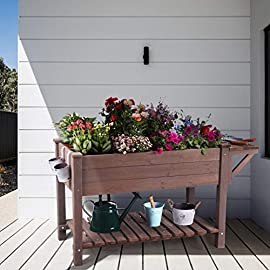 Raised Garden Bed for Herbs, Patio Elevated Flower Planter Vegetable Boxes with Grow Grid - Large Storage Shelf 2 ★ Upgrade with EXTRA side workstation and large bottom storage layer provides a spacious and convenient place to work & store. ★ Easy Growing Up To 8 different herbs/flowers/vegetable with grow grid. The dividers can be easy remove so it's one BIG OPEN PLANTER. ★ FREE INNER LINING are include to separate wood and soil. Spacious raised planter to ensure your plants and vegetables can breathe and grow healthy.
