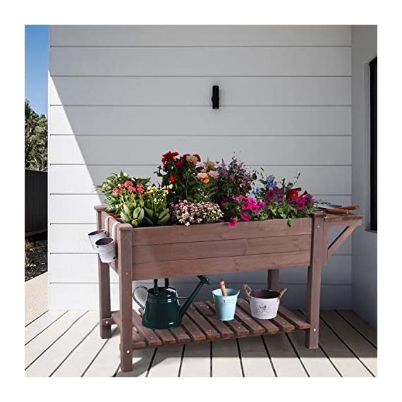 """Raised Garden Bed, Elevated Plant Boxes Outdoor Large with Grow Grid - with Large Storage Shelf 52.7"""" x 22"""" x 30"""" 2 ★ Upgrade with EXTRA side workstation and large bottom storage layer provides a spacious and convenient place to work & store. ★ Easy Growing Up To 8 different herbs/flowers/vegetable with grow grid. The dividers can be easy remove so it's one BIG OPEN PLANTER. ★ FREE INNER LINING are include to separate wood and soil. Spacious raised planter to ensure your plants and vegetables can breathe and grow healthy."""