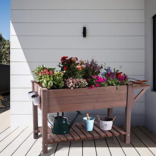 """Raised Garden Bed, Elevated Plant Boxes Outdoor Large with Grow Grid - with Large Storage Shelf 52.7"""" x 22"""