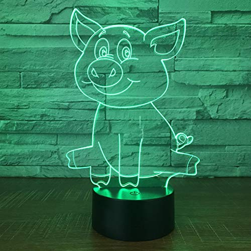 lihaohao Cute Animal Pig 3D Optical Illusion Lamp Led Night Light Boys Girls Toy Baby Bedroom Table Lamp, 16 Color Changing Remote Control USB Bedside Lamp Home Decoration Birthday