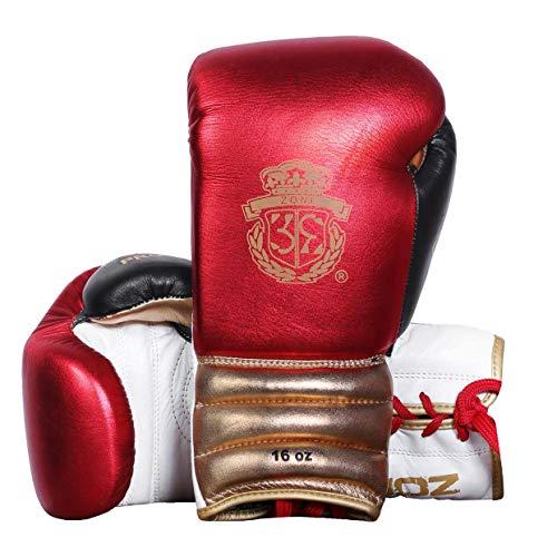 Boxhandschuhe für Training Muay Thai Rindsleder Handschuhe für Sparring, Kickboxen, Kampfsport, ideal für schwere Boxsack, Fokus-Pads, Grappling Dummy und Speedball Punching, 340 g