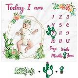 Cactus Baby Milestone Blanket Baby Girl Monthly Photography Blanket Watercolor Newborn Baby Blanket Age Photo Props Soft Fleece Blanket Milestone Newborn Gift Idea Photography Backdrop
