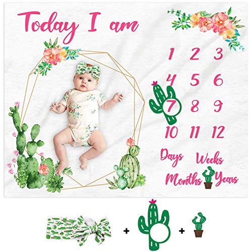 Cactus Baby Photography Blanket Watercolor Newborn Baby Milestone Blanket Baby Girl Monthly Blanket Age Photo Props Soft Fleece Blanket Milestone Newborn Gift Idea Photography Backdrop