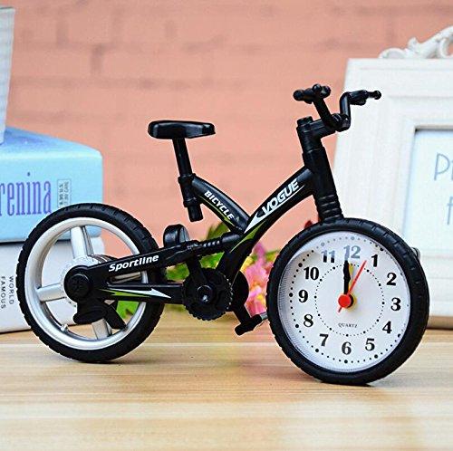 Ulooie, sveglia a forma di bicicletta sportiva, accattivante, unica e squisita, colore: nero