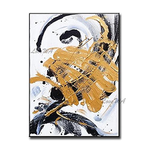 ZNYB Cuadros para Colorear Adultos 100% Pintura al óleo Abstracta Pintada a Mano Cuadro de Pared en Blanco y Negro Lienzo Arte Pinturas Coloridas Arte para decoración de Sala de Estar
