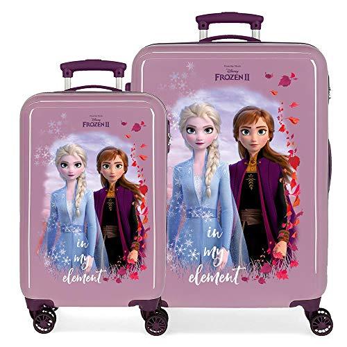 Disney Frozen Die Eiskönigin Nature is magical Kofferset Violett 55/65 cms Hartschalen ABS Kombinationsschloss 93L 4 Doppelräder Handgepäck