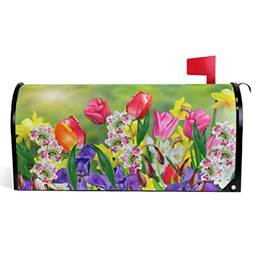 Vdsrup Spring Summer Flowers Mailbox Covers Magnetic Tulips Daffodils Daisy Florals Mailbox Cover Standard Size 18' X 21' Mailbox Wraps Post Letter Box Cover Garden Decorations