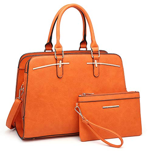 Dasein Women Satchel Handbag Shoulder Purse Top Handle Work Bag Tote Bag With Matching Wallet (Orange)