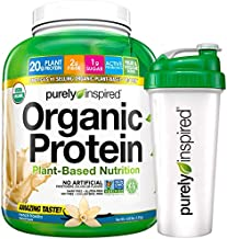 Vegan Protein Powder + Shaker Bottle | Purely Inspired Organic Protein Powder | Plant Based Protein Powder for Women & Men | Brown Rice & Pea Protein | Vegan Friendly | Vanilla, 4 lbs (47 Servings)