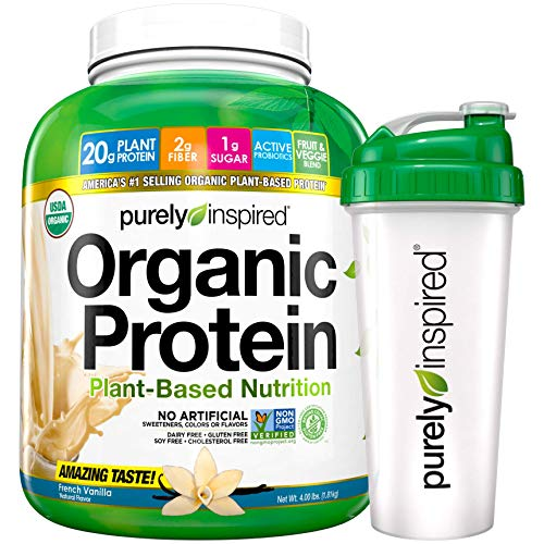 Purely Inspired Vegan Protein Powder with Shaker Bottle, French Vanilla, 24 oz