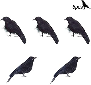MUSCARE Halloween Black Crow Realistic Feathered Birds Model Party Decorations Prop 5pcs