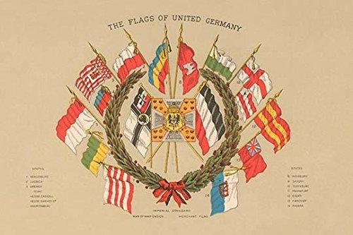 Eine Reihe von Flaggen der verschiedenen Stadtstaaten der Weimarer Republik um den 1. Weltkrieg Posterdruck (45,7 x 61 cm)