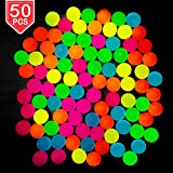 PROLOSO 50 Pcs Bouncy Balls Glow in The Dark Bouncing Rubber Pet Toys Bright Neon Colors 1.25'