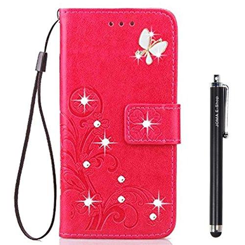 JOMA-E Shop Funda para LG Aristo 2, LG Aristo 2 Plus/LG LV3 / K8 2018, hecha a mano con 4D Bling Diamond PU cuero con soporte y lápiz capacitivo (rosa rojo)