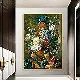 yunxiao Impresión de Arte Pinturas clásicas en Lienzo de Flores en la Pared Carteles artísticos e Impresiones Naturaleza Muerta Flores en jarrón Lienzo Cuadros artísticos decoración del hogar 50X70cm