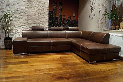 Quattro Meble Ecksofa London II 3z 275 x 200 Dunkelbraun Echtleder mit Ziernaht Sofa Couch mit Bettfunktion und Bettkasten Echt Leder Eck Couch große Farbauswahl